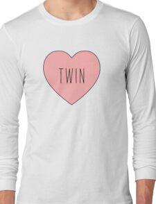 I Love Twin Heart White Long Sleeve T-Shirt
