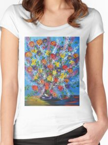 Spring has Sprung, abstract floral bouquet, daffodils, spring flowers Women's Fitted Scoop T-Shirt
