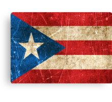 Vintage Aged and Scratched Puerto Rican Flag Canvas Print