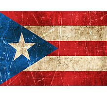 Vintage Aged and Scratched Puerto Rican Flag Photographic Print