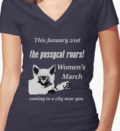 Pussycat Roars (Womens March) Women's Fitted V-Neck T-Shirt