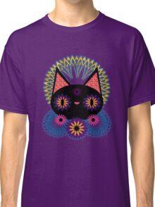 Dark Floral Feline Charm T-shirt Classique