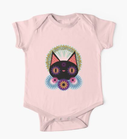 Dark Floral Feline Charm One Piece - Short Sleeve