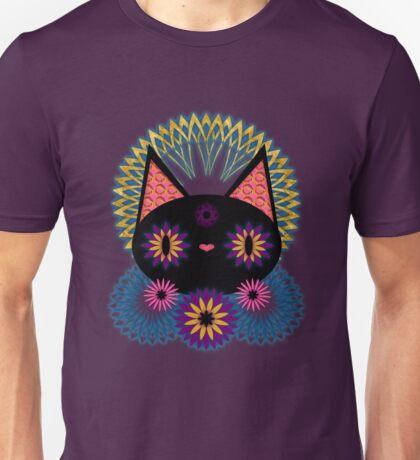 Dark Floral Feline Charm Unisex T-Shirt