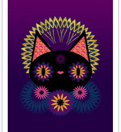 Dark Floral Feline Charm Sticker