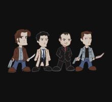 Sam, Dean, Castiel, Crowley by rexraygun