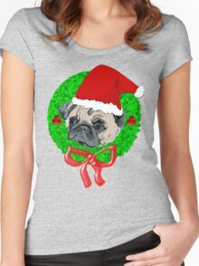 Christmas Pug Women's Fitted Scoop T-Shirt