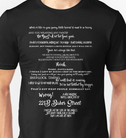 Sherlock - Best Quotes from Sherlock Unisex T-Shirt