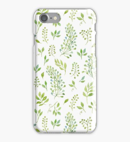 Watercolor leaves pattern iPhone Case/Skin