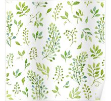 Watercolor leaves pattern Poster