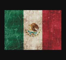 Vintage Aged and Scratched Mexican Flag Baby Tee