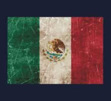 Vintage Aged and Scratched Mexican Flag Kids Tee