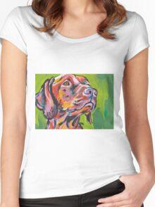 Vizsla Dog Bright colorful pop dog art Women's Fitted Scoop T-Shirt