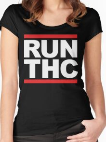 RUN THC (Parody) White Ink Women's Fitted Scoop T-Shirt