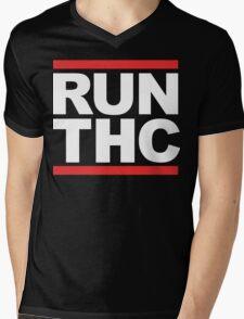 RUN THC (Parody) White Ink Mens V-Neck T-Shirt