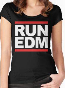 RUN EDM (Parody) White Ink Women's Fitted Scoop T-Shirt