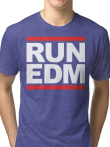 RUN EDM (Parody) White Ink Tri-blend T-Shirt