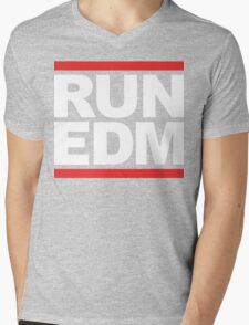 RUN EDM (Parody) White Ink Mens V-Neck T-Shirt