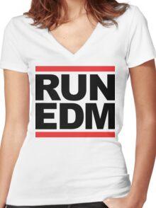 RUN EDM (Parody) Women's Fitted V-Neck T-Shirt