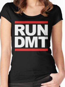RUN DMT (Parody) White Ink Women's Fitted Scoop T-Shirt