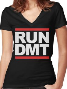 RUN DMT (Parody) White Ink Women's Fitted V-Neck T-Shirt