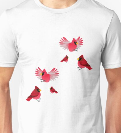 Cardinals on Red Unisex T-Shirt