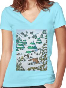 cute fox and rabbits christmas snow scene Women's Fitted V-Neck T-Shirt