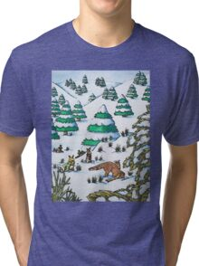 cute fox and rabbits christmas snow scene Tri-blend T-Shirt