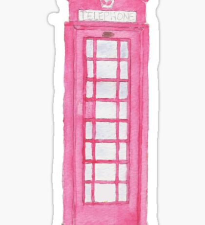 Pink Telephone Booth Sticker
