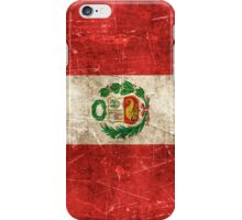 Vintage Aged and Scratched Peruvian Flag iPhone Case/Skin