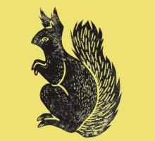 Squirrel Lino Print One Piece - Short Sleeve