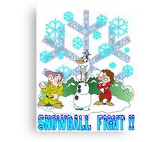 Snowball Fight Disney style Canvas Print