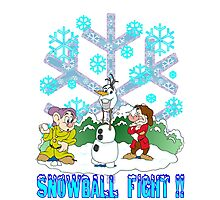 Snowball Fight Disney style Photographic Print