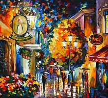 CAFE IN THE OLD CITY - Leonid Afremov by Leonid Afremov