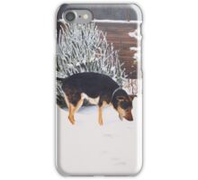 Winter snow scene with cute black and tan dog  iPhone Case/Skin