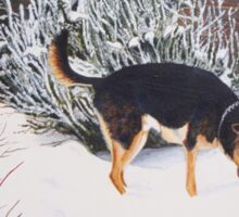 Winter snow scene with cute black and tan dog  Sticker