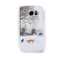 dog snow scene landscape with trees & rooftops art Samsung Galaxy Case/Skin