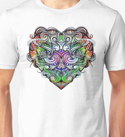 One Love Colorful Rainbow Hand Drawn Heart Design Unisex T-Shirt