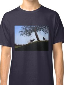 Dogs in park snow landscape painting realist art   Classic T-Shirt