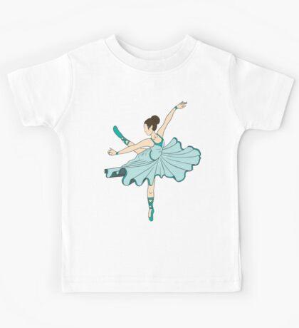 Cute Teal Blue Dance Ballerina Princess Kids Tee