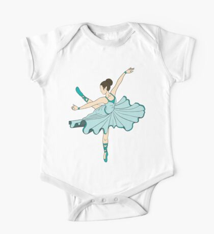Cute Teal Blue Dance Ballerina Princess One Piece - Short Sleeve