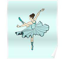 Cute Teal Blue Dance Ballerina Princess Poster