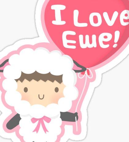 Little Lamb Loves Ewe Cute Pun Humor Sticker
