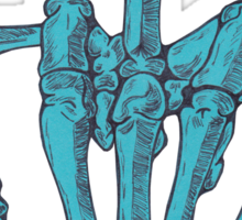 Skeletal Middle Finger - Blue Sticker