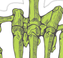 Skeletal Middle Finger - Green Sticker