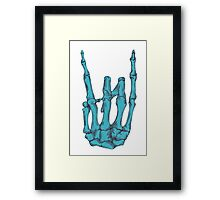 Rock On Skeleton Hand - Blue Framed Print