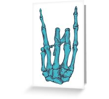 Rock On Skeleton Hand - Blue Greeting Card