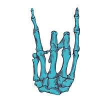 Rock On Skeleton Hand - Blue Photographic Print