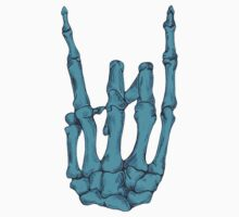 Rock On Skeleton Hand - Blue by BonesToAshes
