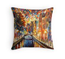 AMSTERDAM - NIGHT CANAL - Leonid Afremov Throw Pillow